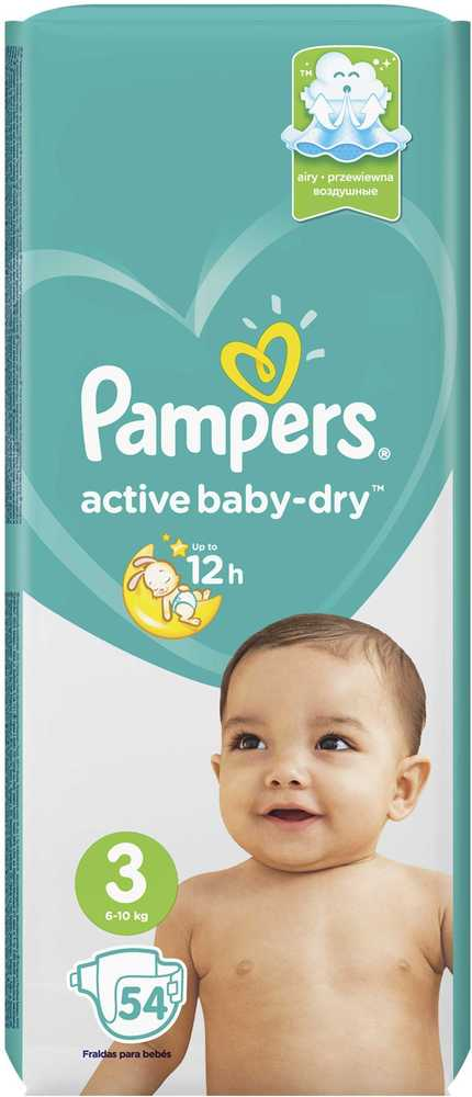 Подгузники Pampers Active Baby-Dry Midi 5-9 кг 54 шт
